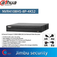 Dahua NVR 4K video recorder 8POE port NVR4108HS-8P-4KS2 Up to 8MP Resolution and 1 SATA III PortUp to 6 TB capacity each HDD