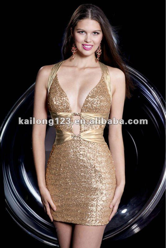 029e2f4374 Stunning Low Cut Neckline Backless Gold Short Sheath Open Back Sequin Satin  Sexy Cocktail Dress-in Cocktail Dresses from Weddings   Events on  Aliexpress.com ...