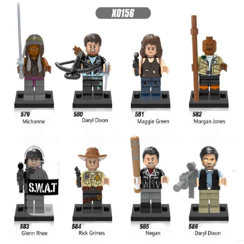 Jedna sprzedaż The Walking Dead Michonne Daryl Dixon Maggie Green Morgan Rick Grimes Negan klocki klocki zabawki dla dzieci