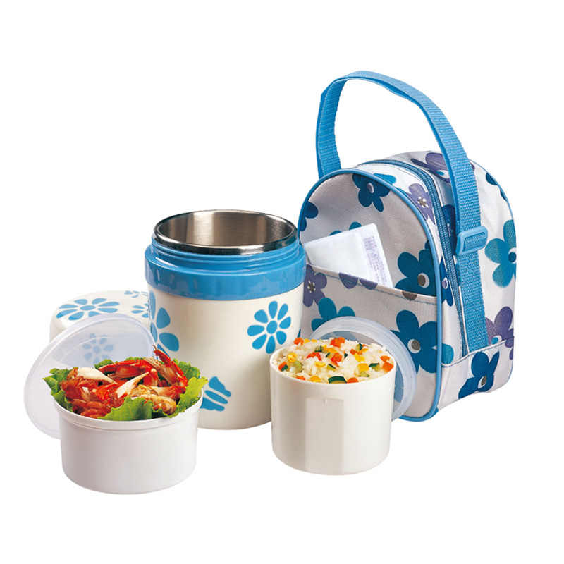 Blue Flower Insulation Lunch Boxes With Bag Thermal Bento