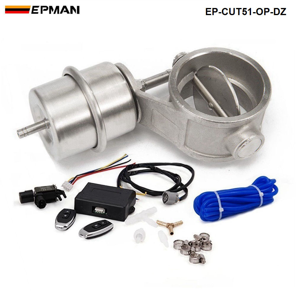 2 51mm Open Vacuum Exhaust Cutout Valve with Wireless Remote Controller Set For AUDI A4 B6