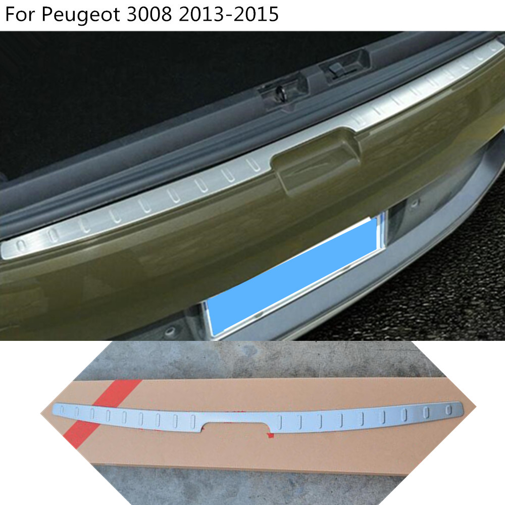 car body External Rear Bumper Protect trim hood styling cover Stainless Steel plate pedal 1pcs For Peugeot 3008 2013 2014 2015
