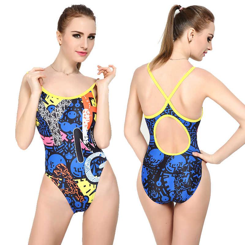 Satu Potong Pakaian Renang Wanita Baju Renang Yingfa 623 Renang Kompetisi Tahan Air Tahan Klor Bahan PBT Wanita Pakaian Renang