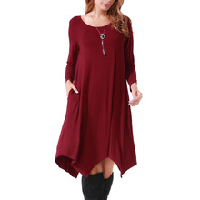 O-neck long sleeve with pocket famous in EU and US hot selling Knee-length dress цена