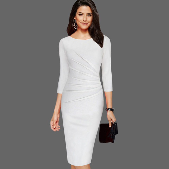 8528e59449b Vfemage Womens Elegant 3 4 Sleeves Ruched Vintage Pinup Slim Wear To Work Business  Party Church Bodycon Pencil Sheath Dress 8100