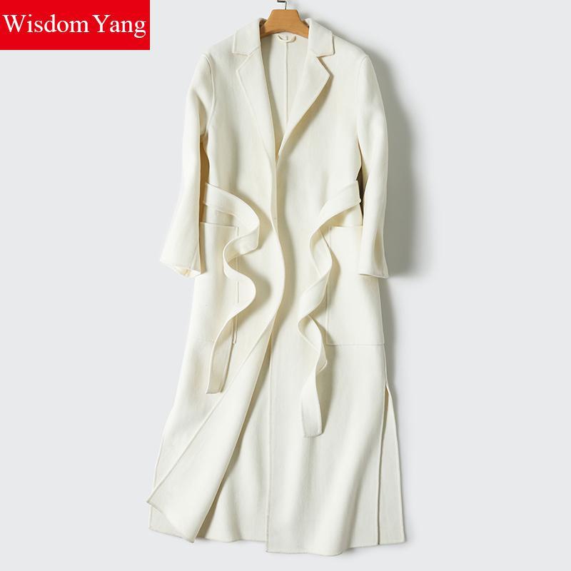 Sagesse Yang Manteau laine de mouton Femme blanc gris marine ceinture chaud hiver Trench manches longues laine pardessus vestes Manteau Femme