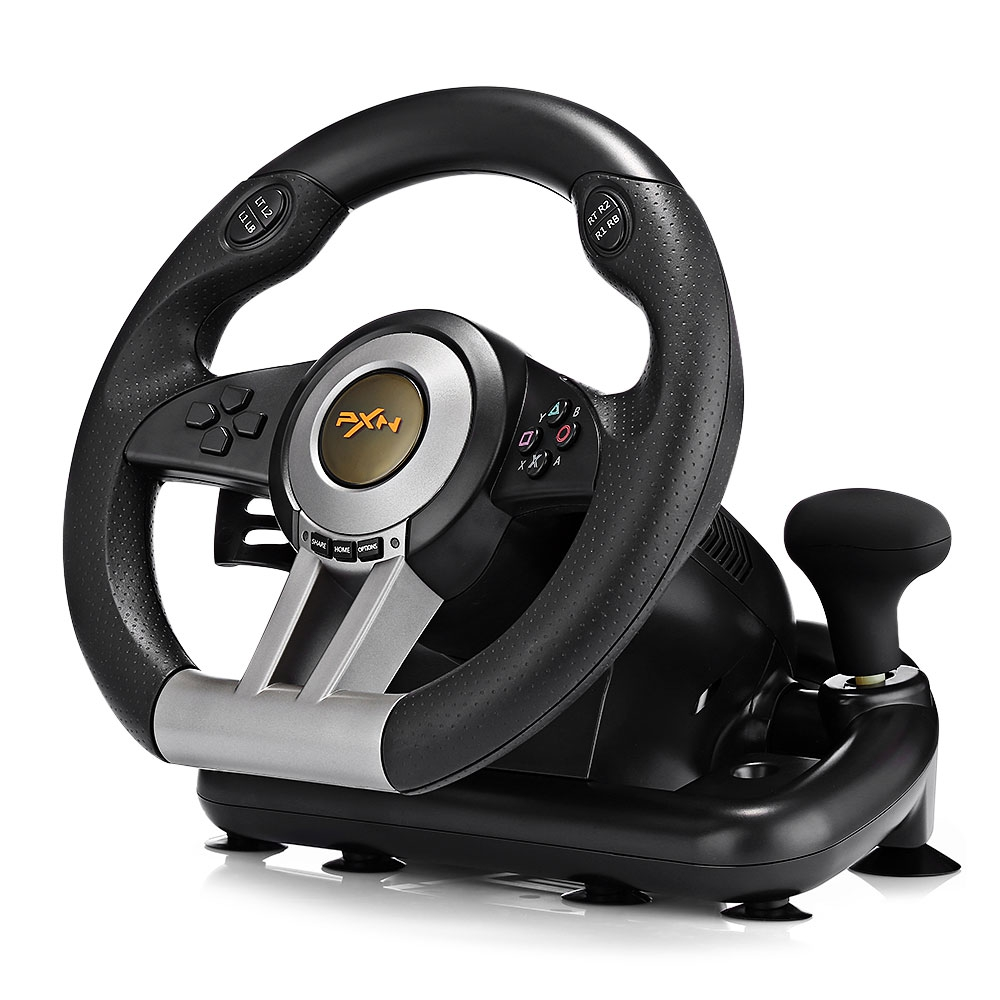 PXN V3II 4 In 1 Steering Wheel For PS4 /3 For Xbox One USB Wired Vibration Motor Racing Games Steering Wheel For PC learning driving skills generation computer racing games steering wheel motor racing steering wheel vibration with handbrake