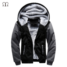 5XL Fleece Hoodies Winter Warm Mens Hooded Jackets Tracksuits Outwear Patchwork