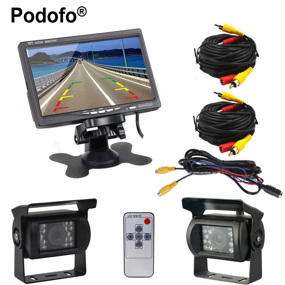 Podofo 2 x Backup Camera 18 IR LED Night Vision Waterproof Rearview Reverse Back Up Camera, 7 LCD Rear View Monitor For Truck dual backup camera and monitor kit for bus truck rv ir led night vision waterproof rearview camera 7 lcd rear view monitor