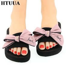 HTUUA Nieuwe 2019 Mode Grote Boog Slippers Vrouwen Strand Slippers Zomer Schoenen 3CM Platte Slides Boho Outdoor Sandalen SX2139(China)