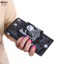 Skull Wallet Purse Bag Cartoon The Nightmare before Christmas Case Bags PU Leather Women Men Handbag Wallets Boy Girl Gift(China)