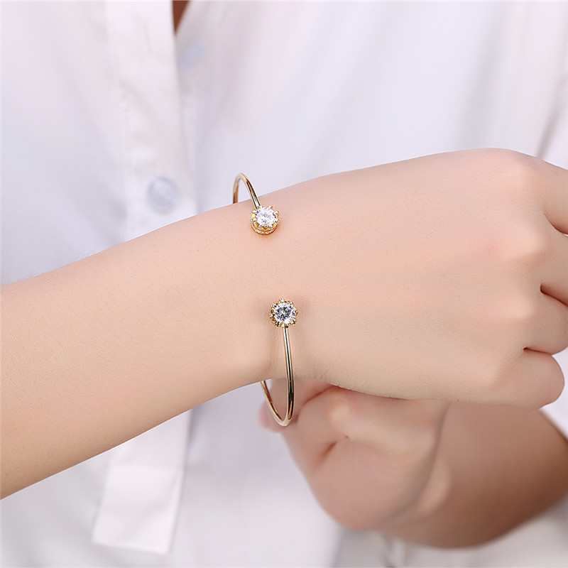 Cute Love Bracelets Bangles Female Gold Black Small Zircon Opening ...