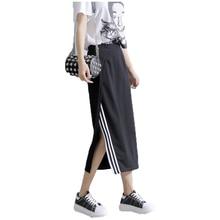 New Fashion Sexy Side Split Black White Striped Bust Skirts Womens Summer Spring Female Pencil Knee-Length Midi Skirt Saia D159