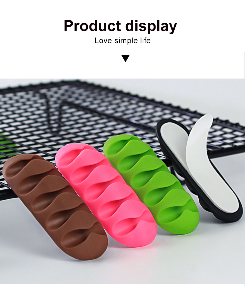 !ACCEZZ Desktop Cable Organizer Wire Winder Management Headphone Holder Mouse Cord Silicone Clips USB Cable For iPhone Micro USB (8)