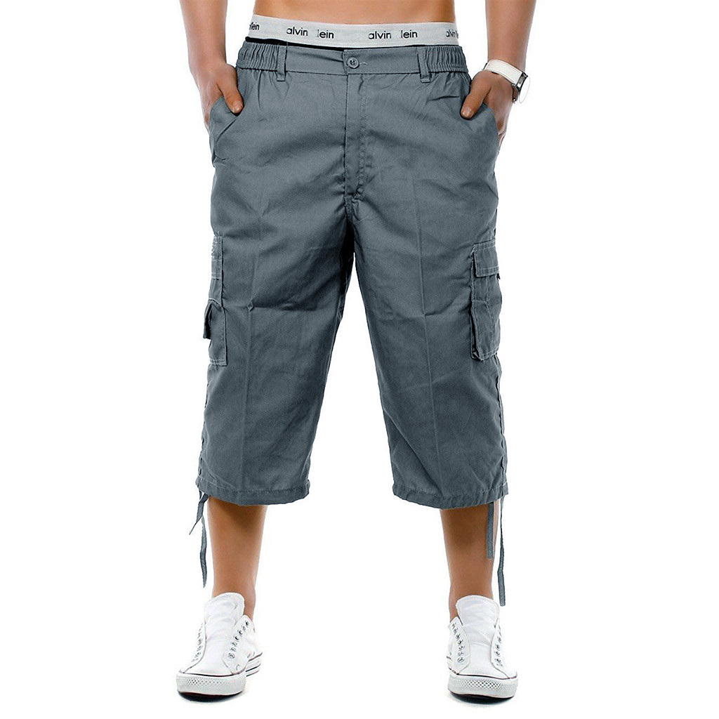 Fashion men's elastic drawstring pants head foot anti-theft pocket overalls Waist Combat 3/4 Long Knee Length   Shorts   Pants 5.29