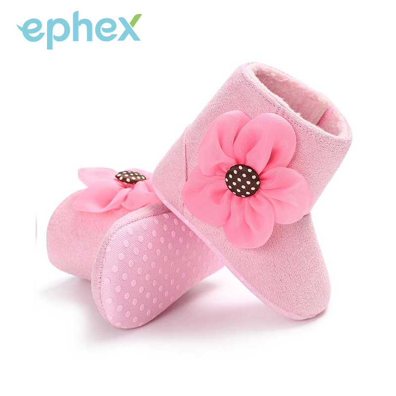 Newborn Cotton Soft Baby Boots Pink/White/Brown Solid Winter Warm Baby Girl Shoes with Flower Anti-slip Shoes First Walkers