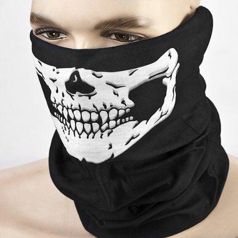 Hot Selling Skull Ghost Face Windproof Mask Outdoor Sports Motorcycle Warm Ski Caps Balaclavas Scarf  E10104 yifei halloween skull skeleton mask motorcycle bicycle multi function scarf half face mask cap neck ghost scarf ski mask outdoor