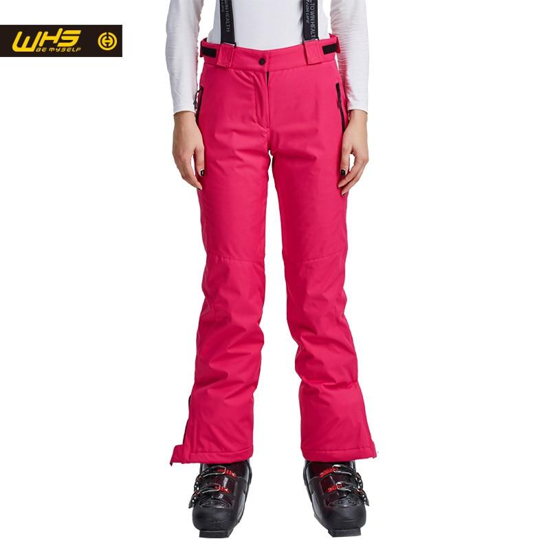 Prix pour Whs nouveau femmes ski pantalon marques en plein air chaud snowboard pantalon pantalon dames de neige imperméables femmes respirant sport pantalon