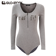 GLO-STORY Jumpsuits 2018 Chic Sexy Long Sleeve Sweater Skinny Bodysuits Women Rompers