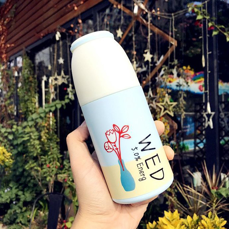 Creative Water Bottle 350ml Double wall Anti-hot PP Shell Glass Cup Water Bottle Cartoon Car-carrying Students Water Cup Gift