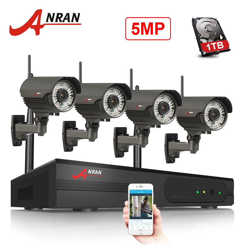 ANRAN Wireless WIFI 5MP NVR HD H 265 Waterproof Outdoor CCTV Camera System Motion Dection Record