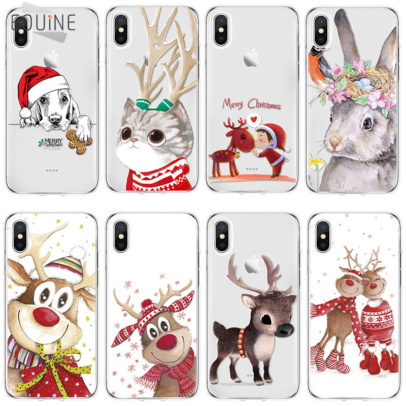 Cover Christmas TPU for <font><b>Samsung</b></font> <font><b>Galaxy</b></font> A3 A5 J3 J5 J7 S5 S6 S7 A6 A8 Edge S8 S9 Plus for coque iPhone 5 5S 6 6S <font><b>7</b></font> 8 Plus X <font><b>Case</b></font> image