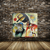 100% Hand Painted Wall Still life Abstract oil Painting Wassily Kandinsky Drawing art Unframed Canvas landscape picture straw