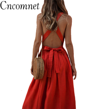 Summer Strap Backless Sexy Red Pleated Dress Women Lace Up Sleeveless Button Beach Dress 2018 Fashion Casual Female