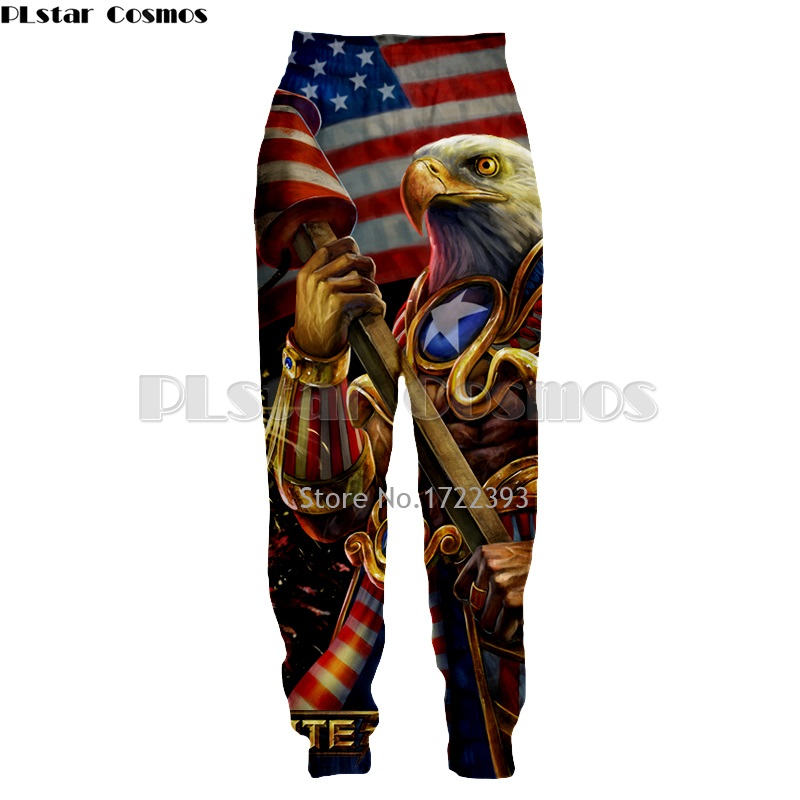 PLstar Cosmos New Fashion Great USA Eagle and Flag 3d Printed Pant Mens Long Pants Hip Hop Trousers Male Casual Baggy Jogger ...