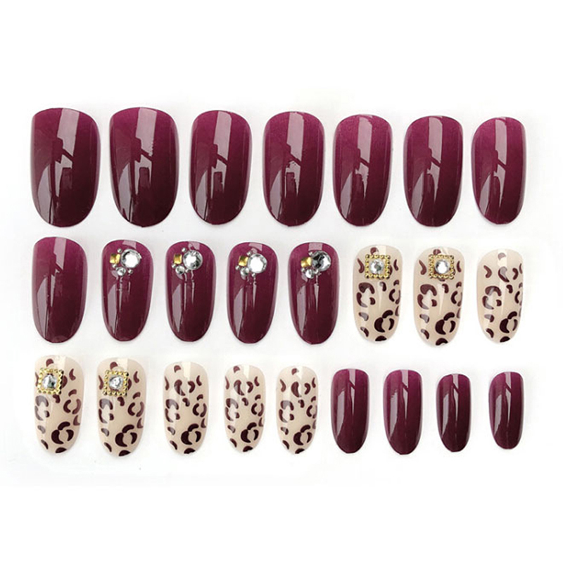 24pcs Leopard Printed False Nail Wedding Acrylic Uv Gel Full Fake Nails Art Tools For Bride Rapid Heat Dissipation Nails Art & Tools