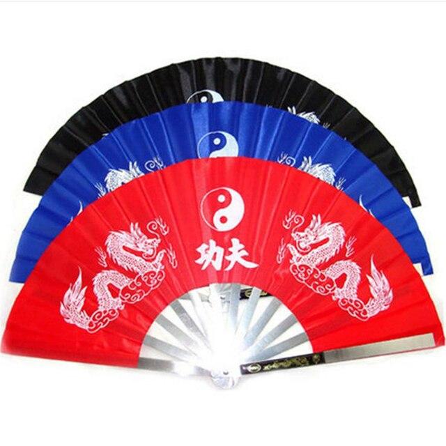 34 см из нержавеющей стали, в форме костей вентилятор с символикой кунг-фу китайский ушу вентилятор с символикой кунг-фу Double Dragon печати занятий боевые искусства Традиционный китайский элемент
