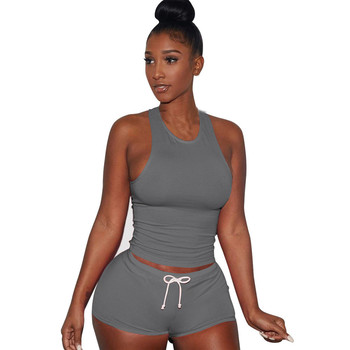 Libre de avestruz 2 uds para mujer Fitness elástico Racerback camiseta sin mangas + Pantalones cortos juego de sujetador conjunto elástico Sexy ceñido ropa C2635