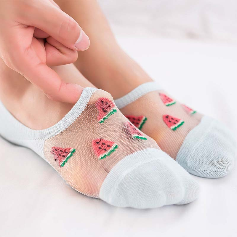 Fashion Leisure Reticulated Eye Crystal Transparent Short Sock Shallow Mouth Women Breathable Thin Short Sock Hosiery