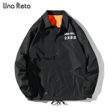 Una Reta Jackets Men 2020 New Hip Hop Embroidered text Jacket Coats Fashion casual Single breasted Coaches jacket Streetwear
