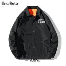 Una Reta ceketler erkekler 2020 yeni Hip Hop işlemeli metin ceket mont moda rahat tek göğüslü antrenörler ceket Streetwear