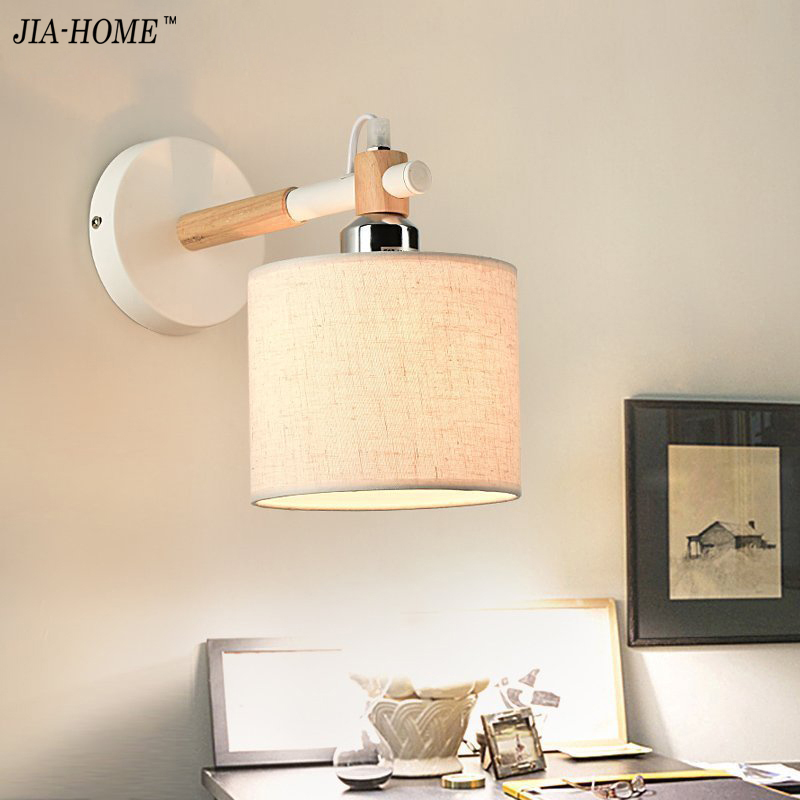 Modern Brief Bedside Solid Wood Wall Lamp Oak Wood Wall Lights For Bedroom Living Room Hotel free shipping