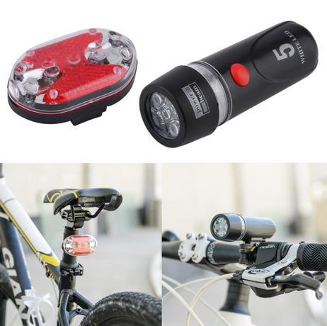 1 Unidades Ultra Bright Ciclismo Bicicleta 5 Led Frontal Head Linterna y 9 Led T