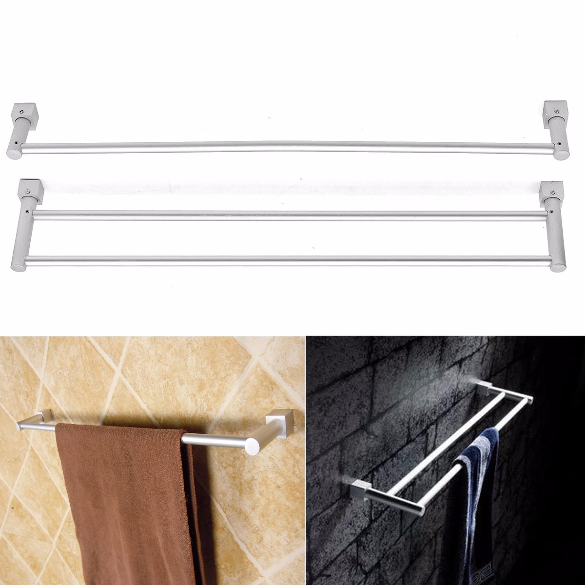 56cm Aluminum Single Double Layer Towel Rail Rack Holder Shelf Kitchen Bathroom Towel Hanger Wall Mounted Towel Holder