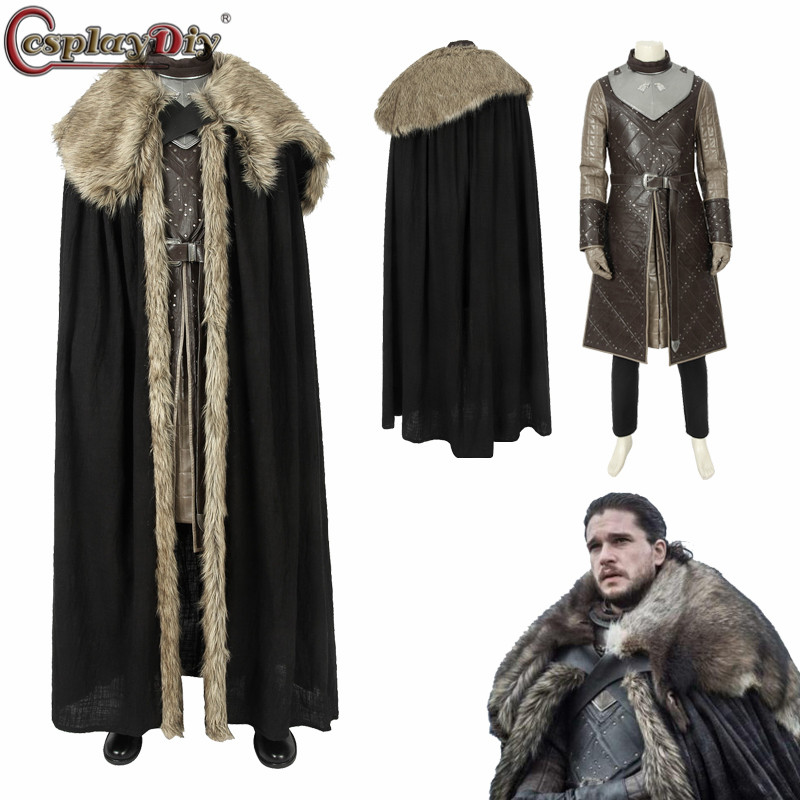 Cosplaydiy Jon Snow Costume Game Of Thrones Season 8 Cosplay Song Of Ice And Fire Full Set Halloween Men Outfit Custom Made