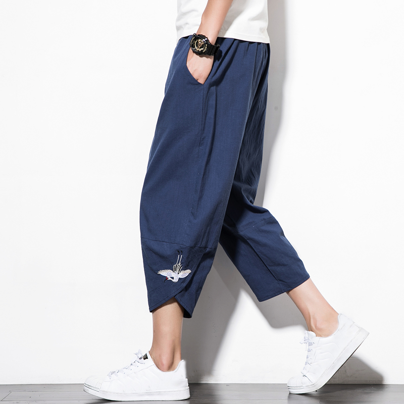 2018 New Chinese Style Male Crane Embroidery Harem Pants Men Calf Length Cotton Linen Bermuda Masculina Male Pants QT4013-M76