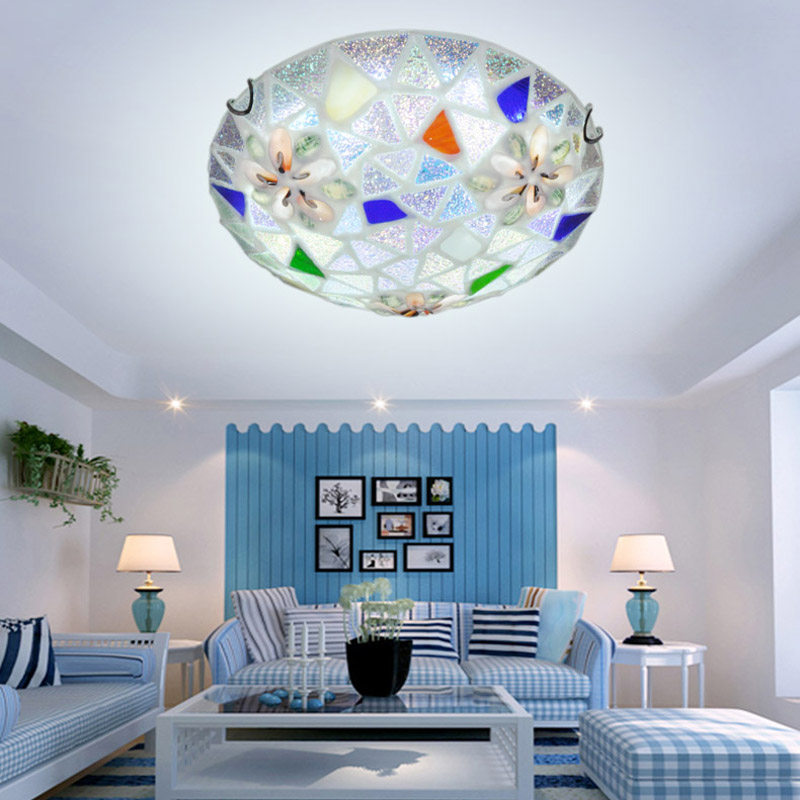 Mediterranean Romantic LED Circular Glass Shell Ceiling Light Fixture Simlpe Lamp Lustre Light For Aisle Hallway Living Room 146 tiffany mediterranean style peacock natural shell ceiling lights lustres night light led lamp floor bar home lighting