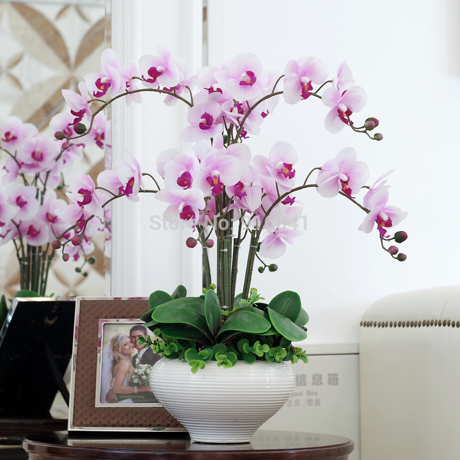 Superbe INDIGO Real Touch Phalaenopsis Set High Simulation Orchids Decoration Flower  Leaves Living Room Display Flower Free Shipping In Artificial U0026 Dried  Flowers ...