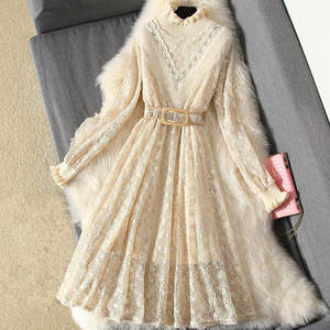 Sweater Dress Long-Sleeve Knitted Bodycon Women Spring Lace Vestidos Slim Sweet