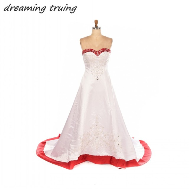 Exquisite Red And White Wedding Dresses 2018 A Line Embroidery ...