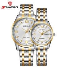 Amantes longbo relojes analógico digital de visualización del calendario impermeable reloj pareja reloj de cuarzo de oro de acero inoxidable 80145