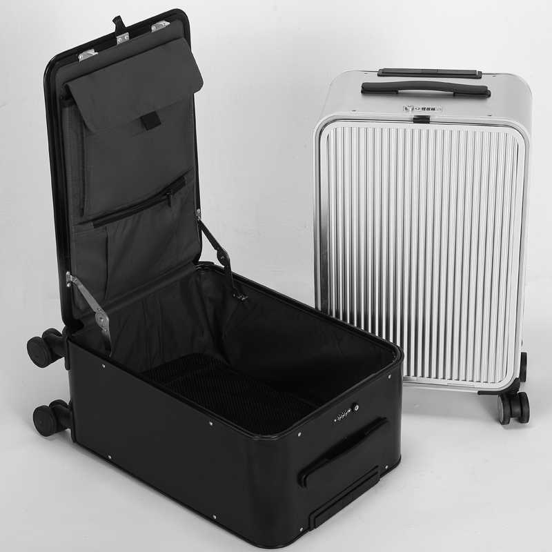 6a70fcebb ... All Aluminum side open luxury rolling luggage men business computer  suitcase women metal password trolley case ...
