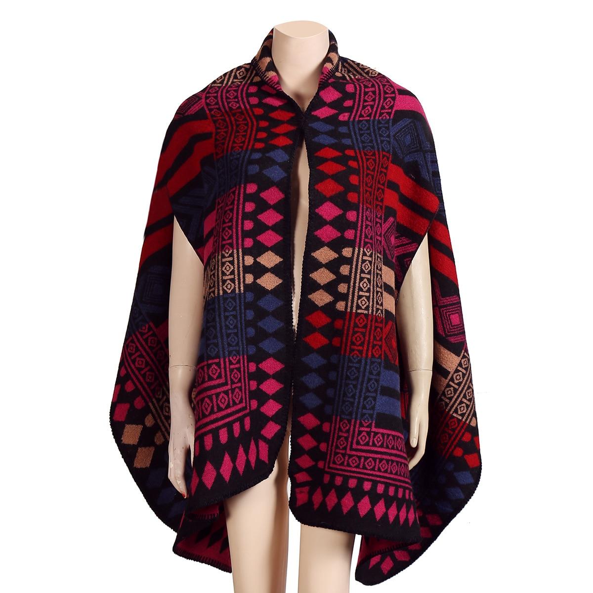Новинка, роскошный брендовый женский зимний шарф, теплая шаль, женское Клетчатое одеяло, вязанное кашемировое пончо, накидки для женщин, echarpe - Цвет: Diamondlatticeblack