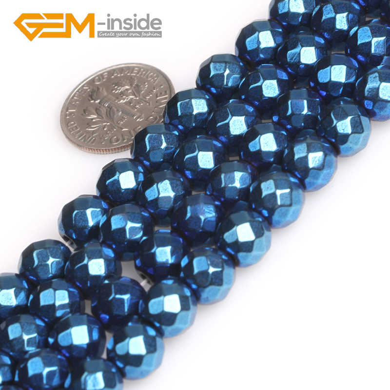 Blue Metallic Coated Faceted Smooth Round Hematite Magnetic Loose Beads For Jewelry Making Strand 15 Inches Wholsale New Fashion