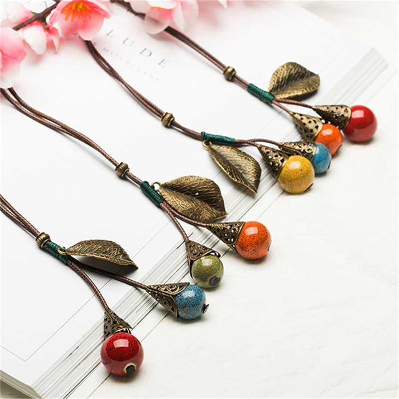 ceramic Copper tree leaf Handmade Necklaces Water Drop style Chinese style Pendant Fashion classic rope chain folk style Ethnic