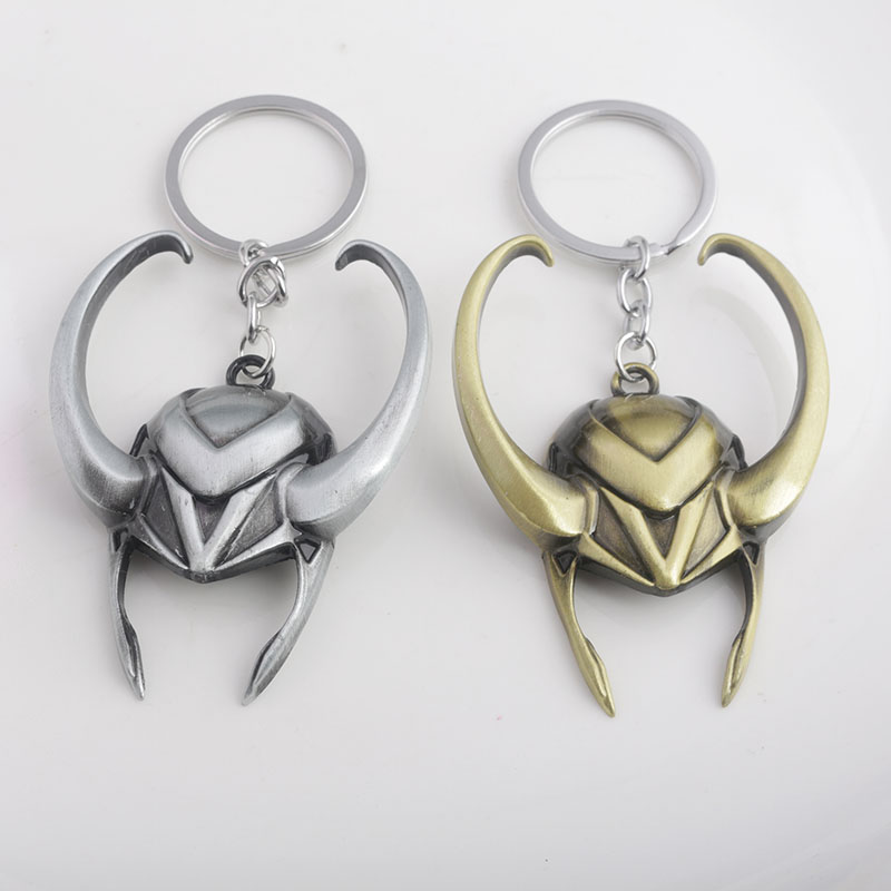 RJ Fashion Movie The Avengers 3 Thor Rocky LOKI Helmet Keychain High Quality Metal Keyring Men Women Chaveiro Jewelry